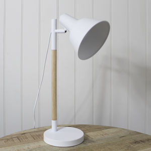 White And Wood Desk Lamp