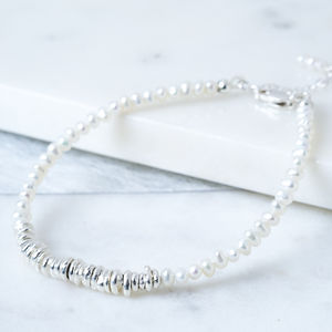 Delicate Pearl And Silver June Birthstone Bracelet