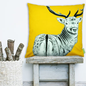 The Stag Watcher Cushion - bedroom