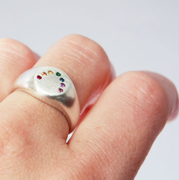 Rainbow Ring Handmade Silver And Gems