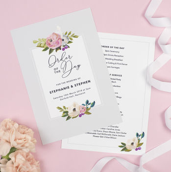 Grey Floral 'Sadie' Order Of The Day Program Cards
