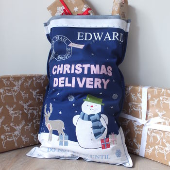 Blue Christmas Delivery Luxury Sack