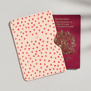 Personalised Pink Heart Print Leather Passport Holder