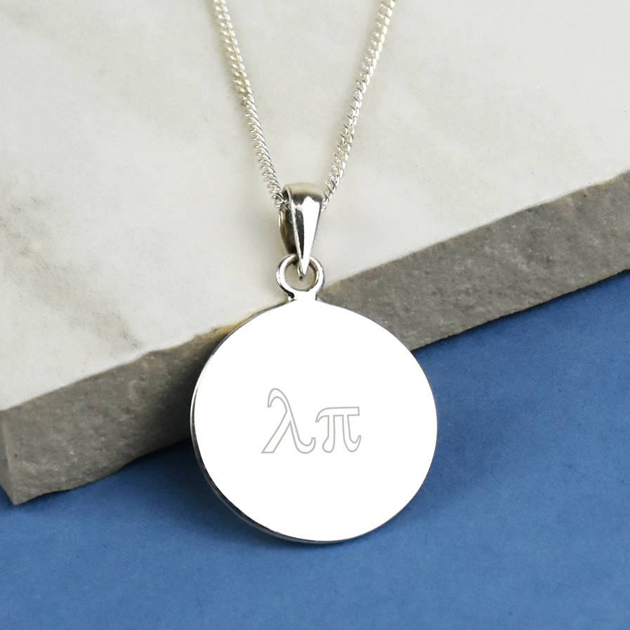Disk Silvers: Greek Monogram Sterling Silver Disc Necklace By Ellie