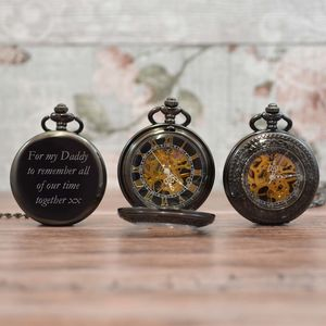 Black Engraved Pocket Watch With Antique Design