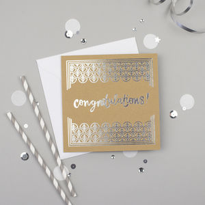 Congratulations Silver Foiled Card - wedding, engagement & anniversary cards