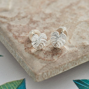 Solid Silver Palm Leaf Stud Earrings - hothouse wedding trend