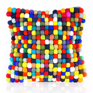Handmade Felt Multicoloured Ball Cushion - bedroom