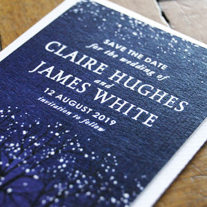 Winter Snow Wedding Save The Date Card And Magnet