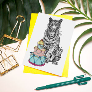 'Party Animal' Tiger Greeting Card