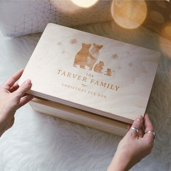 Personalised Engraved Bear Family Christmas Eve Box
