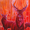Red Magic A Red Painting With Red Deer At Dawn