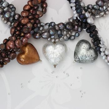 silver, gold and black diamond murano heart and pearl statement necklaces