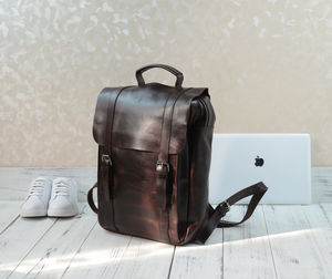 Genuine Leather Classic Style Backpack - men's travel gifts