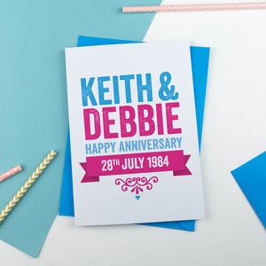 Personalised Bold Anniversary Card - anniversary cards