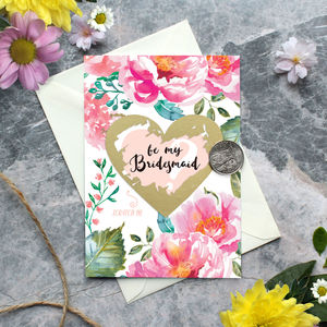 Scratch Off Pink Peony Bridesmaid Card - be my bridesmaid?