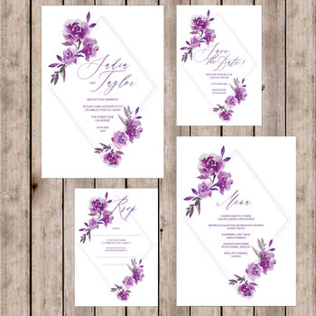 Diamond Floral Wedding Invitations