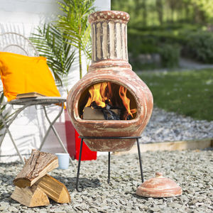 Large Clay Chiminea - fire pits & outdoor heating