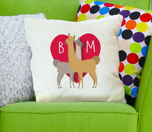 Personalised Llama Lovers Cushion Cover