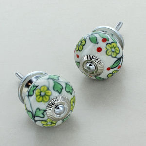 Blossom Ceramic Door Knobs Cupboard Handles - door knobs & handles