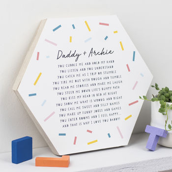 Daddy And Me Poem On Wooden Hexagon
