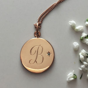 Birthstone Initial Necklace In Yellow Or Rose Gold