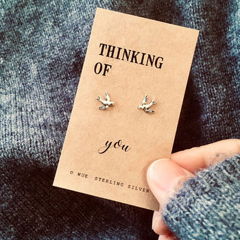 Thinking Of You Silver Swallow Earrings