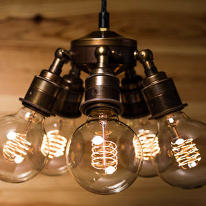 Maria Steampunk Five Lamp Holder Brass Pendant - pendant lights