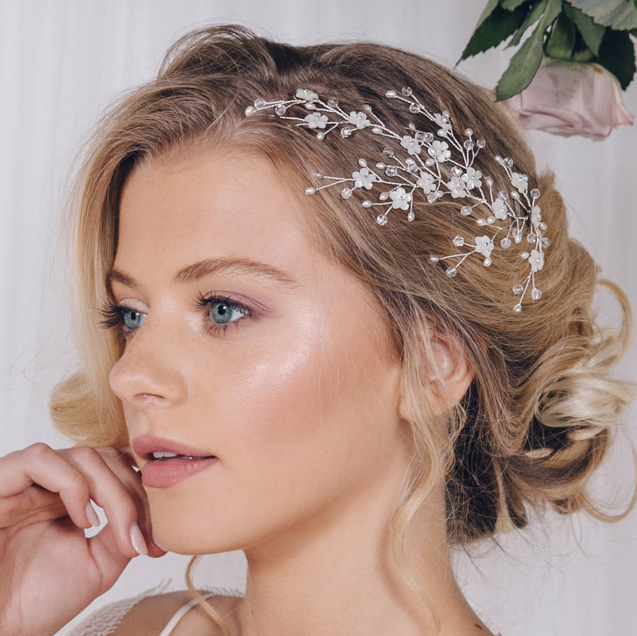 Flower Wedding Headpieces: Floral Gold Silver Or Rose Gold Bridal Headpiece Cherry By