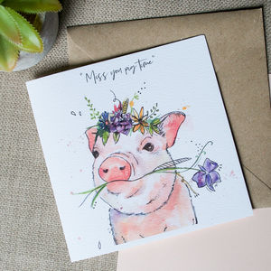 Watercolour Pig Card