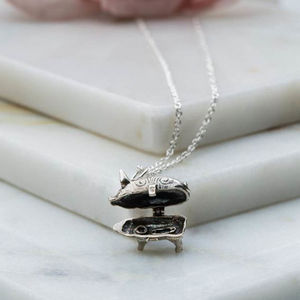 Vintage Inspired Piggy Bank Charm Necklace