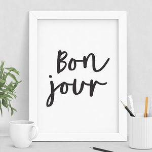 'Bonjour' Typography Print - posters & prints