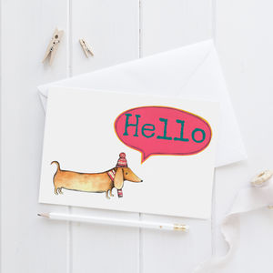 Personalised Sausage Dog Greeting Card - blank cards