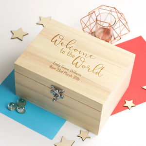 Welcome To The World New Baby Keepsake Box - keepsake boxes