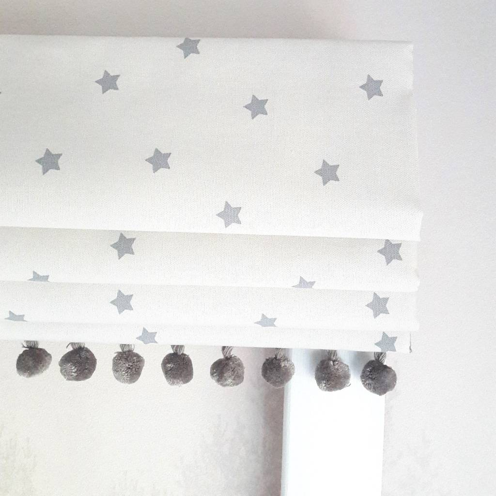Mini Grey Stars Blackout Roman Blind By The Nursery Blind