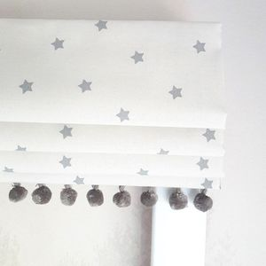 Mini Grey Stars Blackout Roman Blind - dreamland nursery