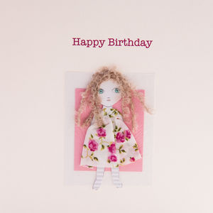 Birthday Card Doll With Long Hair