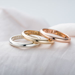 Personalised 9ct Gold Script Wedding Ring - new in fine jewellery