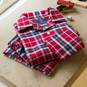 Children's Pyjamas In Red Tartan Two Fold Flannel