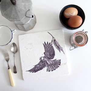 Red Footed Falcon Natural Stone Trivet - kitchen