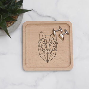 Personalised Geometric Wolf Coin Tray