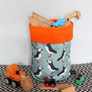 Green Puffin Fabric Storage Basket
