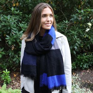 Embroidered Cobalt Blue Chequered Scarf