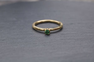 Gold Emerald Solitaire Ring