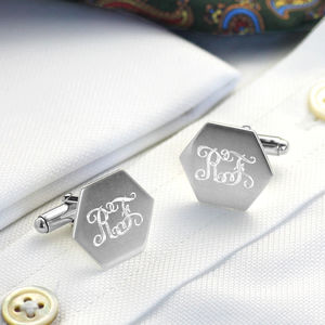 Silver Or Silver Gilt Hexagon Cufflinks With Monogram