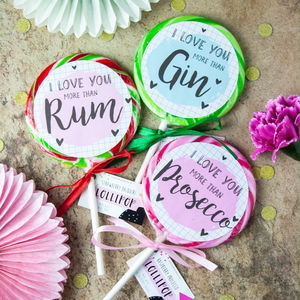 Three Boozy 'Love You' Lollipops Gin, Prosecco And Rum - lollipops