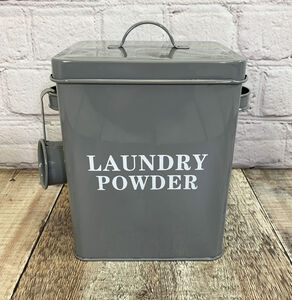 Laundry Powder Storage Tin In French Grey