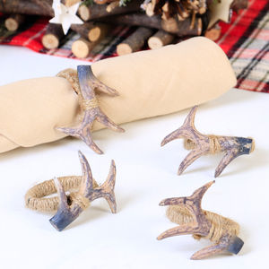 Set Of Four Winter Woodland Antler Jute Napkin Rings