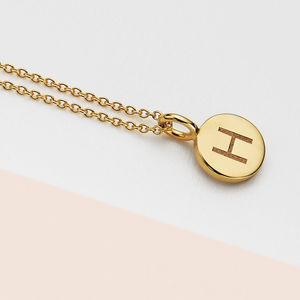 Small 18ct Gold Personalised Initial Disc Pendant - wedding fashion