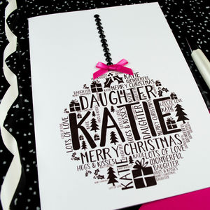 Daughter Personalised Christmas Bauble Card - cards & wrap